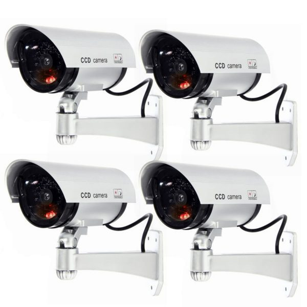 4 Pack IR Bullet Fake Dummy Surveillance Security Camera CCTV Record Light S1-4